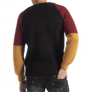 Мъжки пуловер в черно, жълто и червено 2