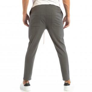 Лек мъжки панталон тип Jogger в тъмно сиво  2