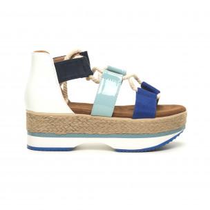Дамски сандали морски дизайн в синьо и бяло