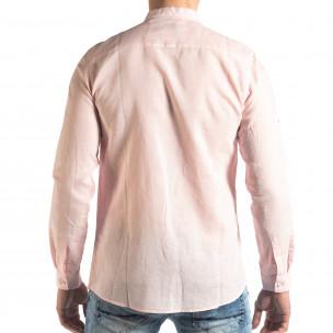 Мъжка риза от лен и памук в розово 2