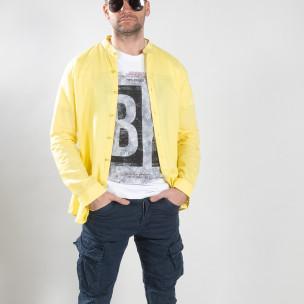 Мъжка риза от лен и памук в жълто