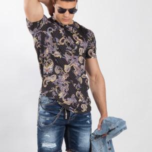 Черна мъжка тениска кашмирен дизайн