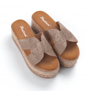 Дамски плетени чехли в златисто равна платформа 2