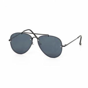 Пилотски черни слънчеви очила с плоски стъкла