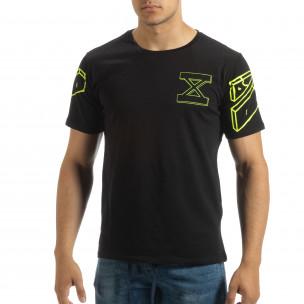 Черна мъжка тениска неонов принт на гърба