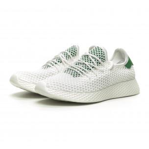 Бели мъжки маратонки Mesh зелена пета 2