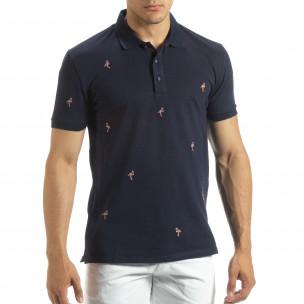Мъжки син polo shirt Flamingo мотив
