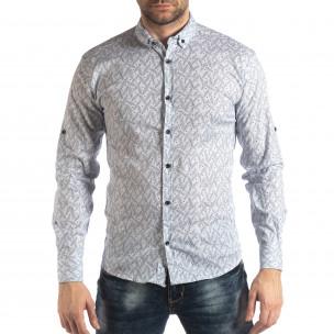 Мъжка Slim fit риза с бял десен