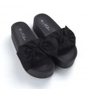 Дамски чехли черни на платформа 2