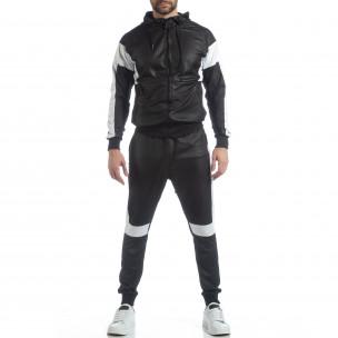 Ефектен мъжки спортен комплект в черно 2