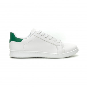 Бели мъжки кецове зелена пета и връзки
