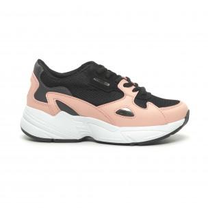 Дамски маратонки черно и розово с дебела подметка