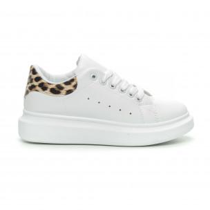 Дамски бели кецове принт пета леопард