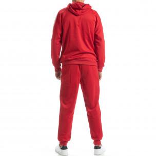 Червен мъжки спортен комплект с бели ленти David Copper 2