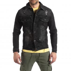 Мъжко еластично дънково яке в черно 2