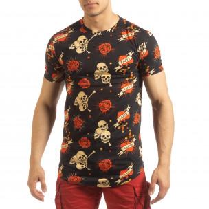 Черна мъжка тениска Skull Love