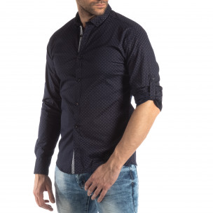 Мъжка вталена риза тъмно син кръстовиден десен
