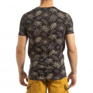 Мъжка тениска Leaves мотив в черно 2