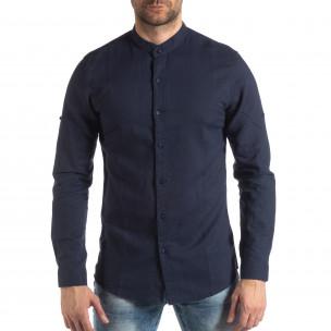 Мъжка риза от лен и памук в тъмно синьо 2