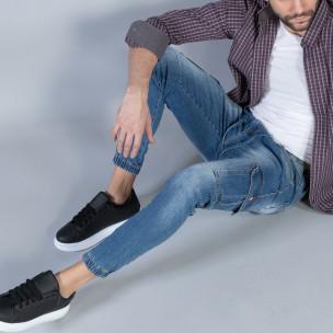 Мъжки сини карго дънки с ластик и връзки  2
