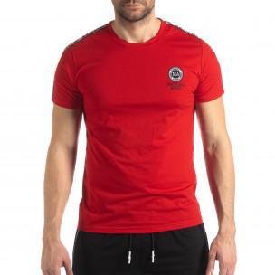Червена мъжка тениска с лого кант  2