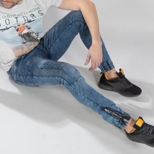 Мъжки син Jogger Jeans в рокерски стил  2