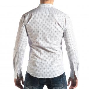 Мъжка вталена риза с бял кръстовиден десен  2