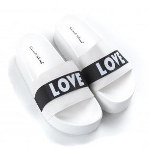 Дамски бели чехли Love на платформа   2