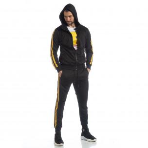Черен мъжки Biker комплект жълт кант