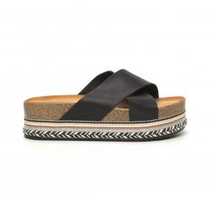 Дамски черни чехли с кръстосани каишки