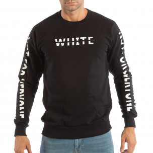 Мъжка черна ватирана блуза WHITE