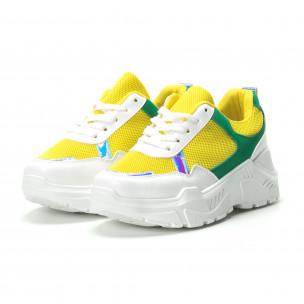 Жълто-зелени дамски маратонки с обемна подметка  2