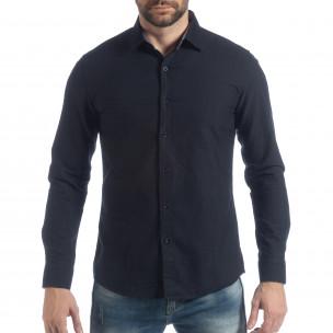Спортна мъжка синя риза Slim fit