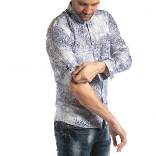 Slim fit мъжка риза Vintage десен в бяло  2
