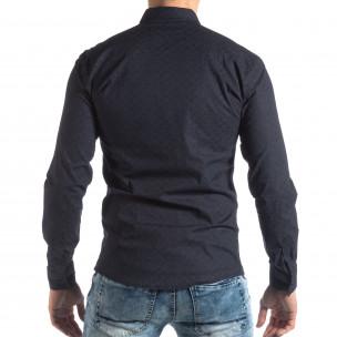 Slim fit мъжка риза с флорален десен тъмно син  2