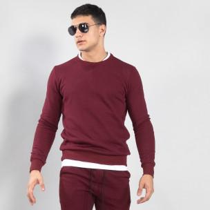 Basic мъжка памучна блуза в тъмно червено