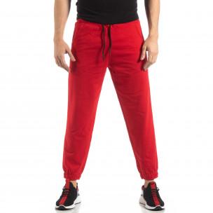 Мъжко червено долнище с кант 2