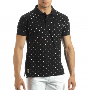 Мъжки черен polo shirt Clover мотив