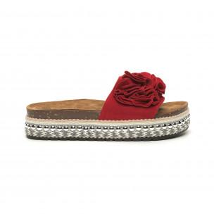 Дамски червени чехли на платформа с декорация