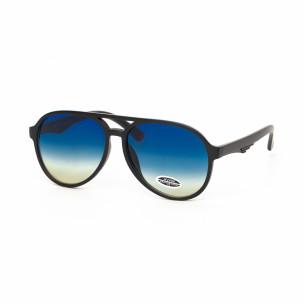 Опушени сини пилотски очила масивна рамка