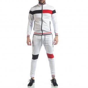 Мъжки бял спортен комплект с права яка 2