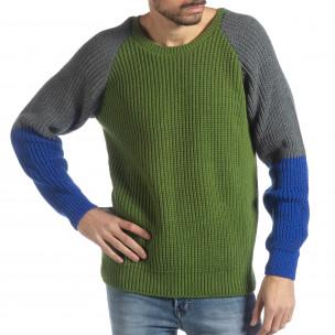Мъжки пуловер в зелено, сиво и синьо