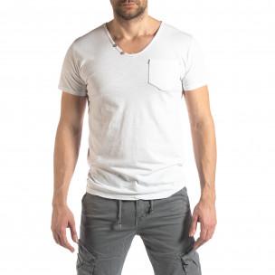Мъжка тениска Vintage стил в бяло