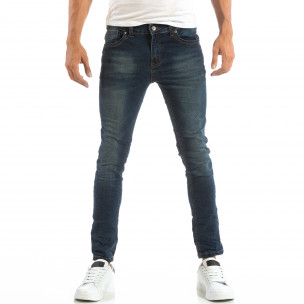 Slim Jeans в синьо с намачкан ефект