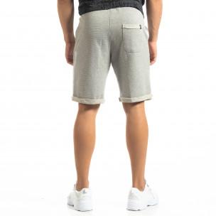 Мъжки сиви шорти на тънко райе  2