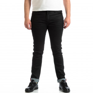 Мъжки Slim Jeans CROPP в черно с маншети