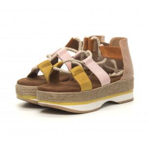Дамски сандали морски дизайн в жълто и розово  2