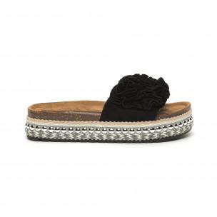 Дамски черни чехли на платформа с декорация