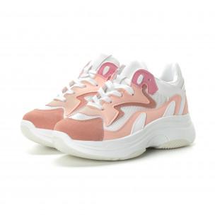 Дамски маратонки в розово на висока подметка  2