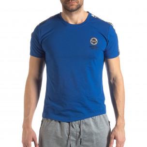 Яркосиня мъжка тениска с лого кант  2